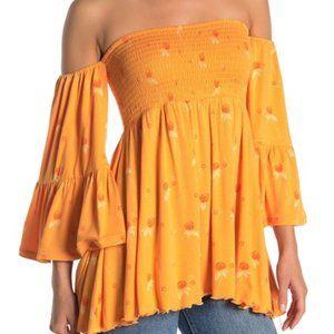 Free People Lana Golden Poppy Top NWT Size XS